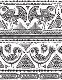 Vector naadloos patroon met zwart-witte hand getrokken driehoeken, overladen vogels Royalty-vrije Stock Foto's