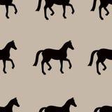 Vector naadloos patroon met zwarte paardensilhouetten Royalty-vrije Stock Afbeelding
