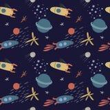 Vector naadloos patroon op het thema van ruimte stock illustratie
