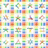 Vector naadloos patroon Rijen die van kleurpotloden, vierkanten en verschillende vormen in deze vierkanten vormen stock foto's