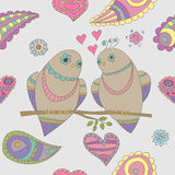 Vector naadloos patroon in romantische stijl Stock Foto's