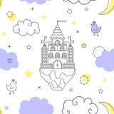 Vector naadloos patroon in stijl van een fantasie Vliegend kasteel in de wolken vector illustratie