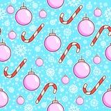Vector naadloos patroon Suikergoedriet en van het Kerstmisspeelgoed ballen Kerstmis het verpakken document ontwerp Witte Sneeuwvl Royalty-vrije Stock Afbeeldingen