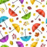 Vector naadloos patroon, textuur met kleurrijke paraplu's en bladeren Het ontwerp van de herfst Kroon van kleurrijke bladeren Bee stock illustratie