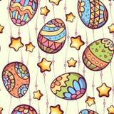 Vector naadloos patroon van de eieren van de beeldverhaalkleur Stock Foto's
