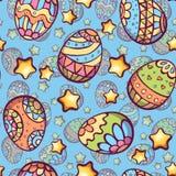 Vector naadloos patroon van de eieren van de beeldverhaalkleur Stock Afbeeldingen