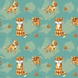 Vector naadloos patroon van de katten van de beeldverhaalgember op gekleurde achtergrond vector illustratie