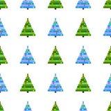 Vector naadloos patroon van de Kerstboom van de pixelkunst op witte achtergrond Achtergrond met groene en blauwe Kerstboom royalty-vrije stock fotografie