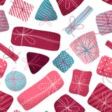 Vector naadloos patroon van diverse giften stock fotografie