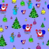 Vector naadloos patroon van een Kerstmisthema Stock Fotografie