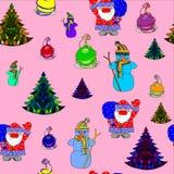 Vector naadloos patroon van een Kerstmisthema Stock Foto's