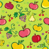 Vector naadloos patroon van fruit Stock Foto's