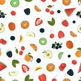 Vector naadloos patroon van fruit en bessen stock illustratie
