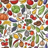 Vector naadloos patroon van fruit en plantaardig, pompoen, appel, Royalty-vrije Stock Afbeeldingen