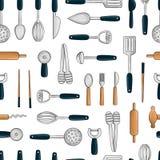Vector naadloos patroon van gekleurd keukengereedschap Herhaal achtergrond met geïsoleerd kleurrijk bestek, spatel, zwaai, mes,  royalty-vrije illustratie