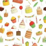 Vector naadloos patroon van gekleurde cakes met kaarsen stock illustratie
