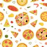 Vector naadloos patroon van gekleurde pizza vector illustratie
