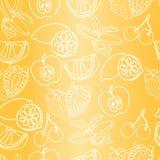 Vector naadloos patroon van gemengde exotische vruchten Stock Foto