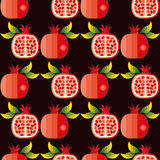 Vector naadloos patroon van granaatappels Stock Afbeelding
