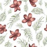 Vector naadloos patroon van groene palmbladeren met rode bloemen op witte achtergrond royalty-vrije illustratie