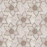 Vector naadloos patroon van hand-drawn bloemen Stock Fotografie