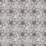 Vector naadloos patroon van hand-drawn bloemen Royalty-vrije Stock Foto's