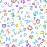 Vector naadloos patroon van hand-drawn kinderen` s alfabet 3D krabbelbrieven ABC-doopvontachtergrond voor jonge geitjes Royalty-vrije Stock Afbeelding