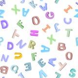 Vector naadloos patroon van hand-drawn kinderen` s alfabet 3D krabbelbrieven ABC-doopvontachtergrond voor jonge geitjes Stock Afbeelding