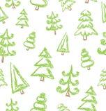 Vector naadloos patroon van hand getrokken Kerstmisboom stock illustratie