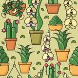 Vector naadloos patroon van huisinstallaties in ceramische potten stock illustratie