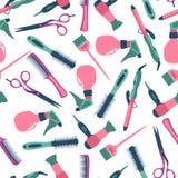 Vector naadloos patroon van kapper en materiaal Stock Fotografie
