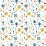 Vector naadloos patroon van kleurrijke bloemen Stock Foto's