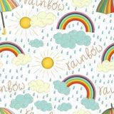 Vector naadloos patroon van kleurrijke regenboog royalty-vrije illustratie