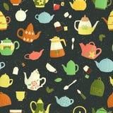 Vector naadloos patroon van kleurrijke theepotten royalty-vrije illustratie