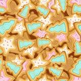 Vector naadloos patroon van koekjes in de vorm van Kerstbomen en sterren Stock Foto