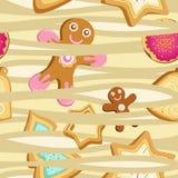 Vector naadloos patroon van koekjes in de vorm van Kerstbomen, sterren en peperkoekmensen Royalty-vrije Stock Afbeeldingen