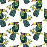 Vector naadloos patroon van leuke kleurrijke toekan in bohostijl Stock Afbeeldingen
