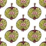 Vector naadloos patroon van moderne geometrische vruchten appelen Exotische de zomerachtergrond Gezond vegetarisch voedsel Royalty-vrije Stock Foto
