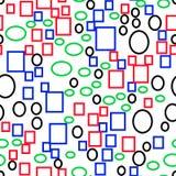 Vector naadloos patroon van multi-colored primitieve geometrische vormen, rechthoeken en ellipsen, vlakke stijl Stock Fotografie