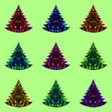 Vector naadloos patroon van negen Kerstbomen Royalty-vrije Stock Foto's