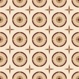 Vector naadloos patroon van ronde schilden en vier-gerichte sterren vector illustratie