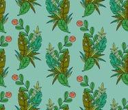 Vector naadloos patroon van tropische bladeren en bloem royalty-vrije illustratie