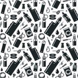 Vector naadloos patroon van verstuiver en toebehoren Stock Afbeelding