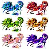 Vector naadloos patroon van zes paarden Royalty-vrije Stock Foto