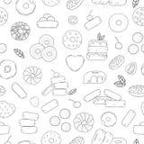 Vector naadloos patroon van zwart-witte doughnuts vector illustratie