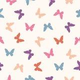 Vector naadloos patroon - vlakke pastelkleurvlinders vector illustratie