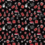 Vector naadloos patroon Vrolijk de vakantieontwerp van Kerstmissymbolen Stikers op donkere achtergrond royalty-vrije illustratie