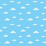 Vector naadloos patroon - wolken op blauwe hemel vector illustratie