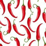 Vector naadloos patroonwit met Spaanse peperpeper Royalty-vrije Stock Foto's