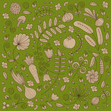 Vector naadloos plantaardig patroon royalty-vrije illustratie